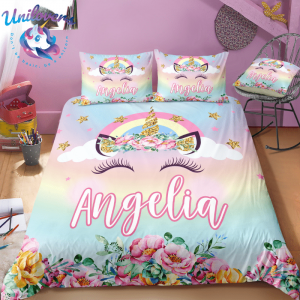 personalized unicorn lash bedding set