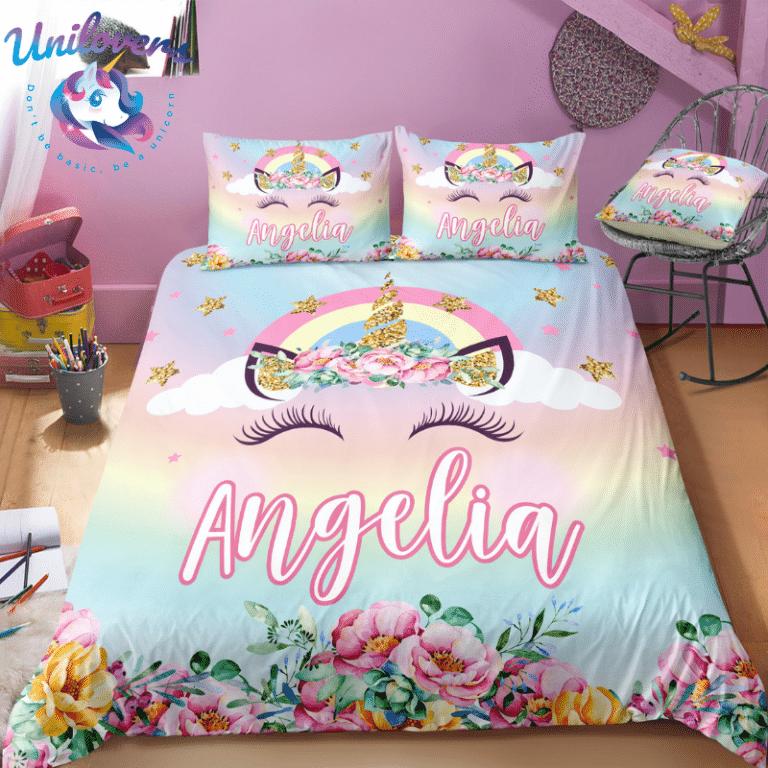 personalized unicorn lash bedding set