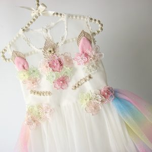 Unicorn Flowers Embroidery Princess Dresses