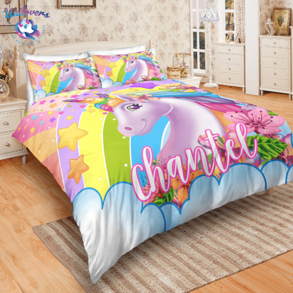 Personalized 3D Flower Unicorn Bedding Set