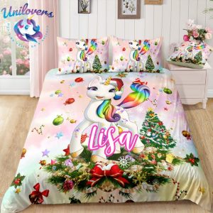 Personalized Rainbow Sky Unicorn Bedding Set