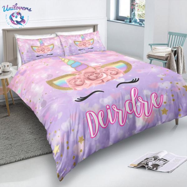 Personalized Cute Purple Unicorn Lash Bedding Set