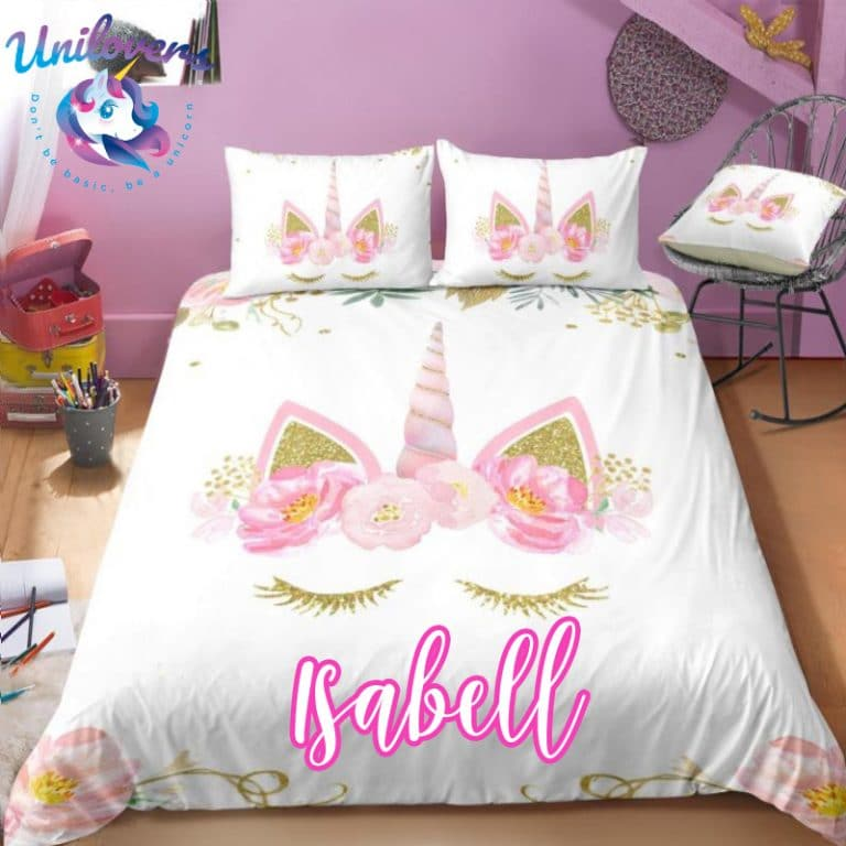 Personalized Rainbow Sky Unicorn Bedding Set