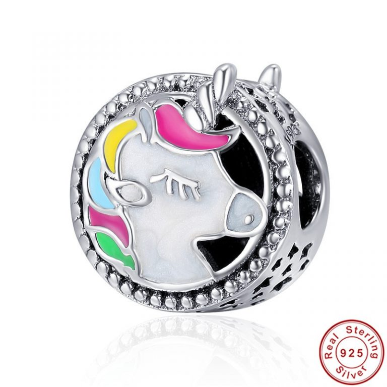 Colorful Unicorn Silver Beads fit Bracelet