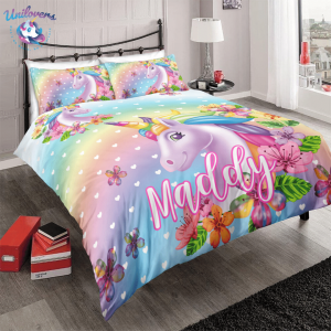 Personalized Cute Unicorn Bedding Set