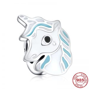 925 Sterling Silver Adorable Unicorn Blue and White Enamel Bead