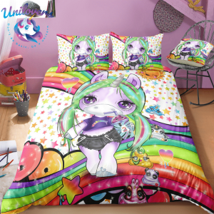 3d Colorful Lash Unicorn Bedding Set