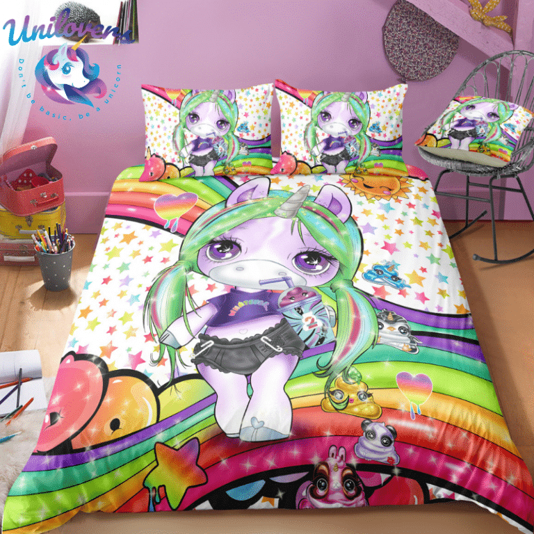 3d Colorful Lash Unicorn Bedding Set