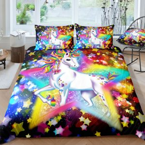Amazing Sparkling Star Unicorn Bedding Set