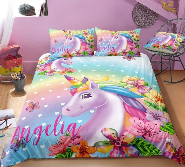 Personalized Cute Unicorn Bedding Set