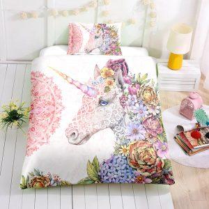 Beautiful Floral Unicorn Bedding Set