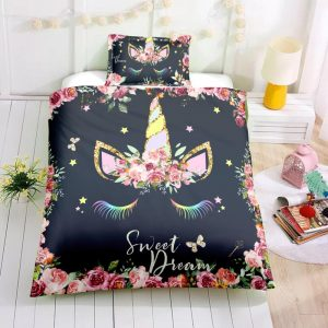 Black Dreaming Unicorn Bedding Set