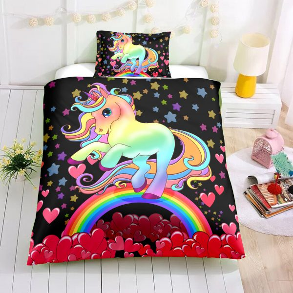 Black Hearts Unicorn Bedding Set
