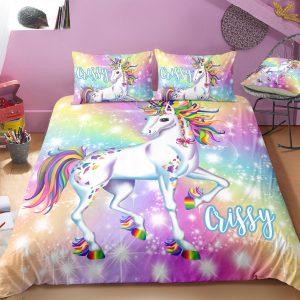 Personalized Bling Bling Unicorn Bedding Set
