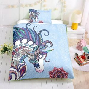 Blue Mandala Unicorn Bedding Set