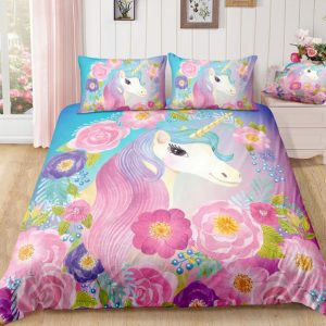 Colorful Flowers Unicorn Bedding Set