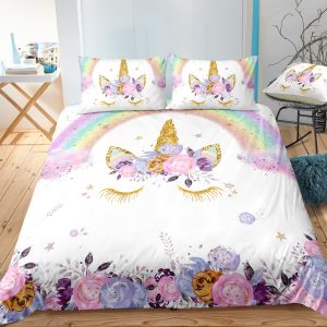Floral Lash Unicorn Bedding Set