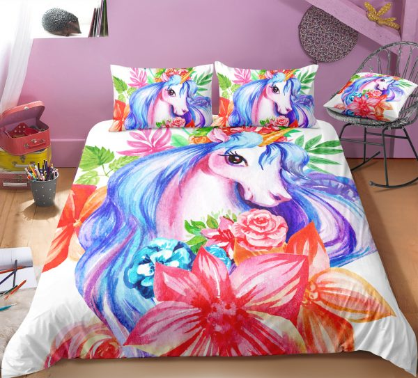 Floral Princess Unicorn Bedding Set
