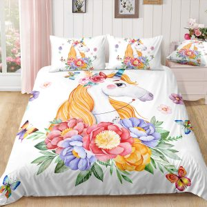 White Unicorn Surrounded by Flowers Bedding Set