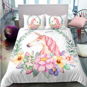 Floral Wreath Unicorn Bedding Set
