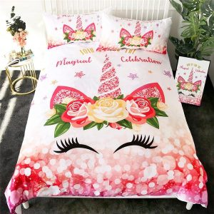 Flower Star Unicorn Eyelash Bedding Set Twin Full Queen Size