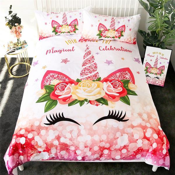 Flower Star Unicorn Eyelash Bedding Set Twin Full Queen Size