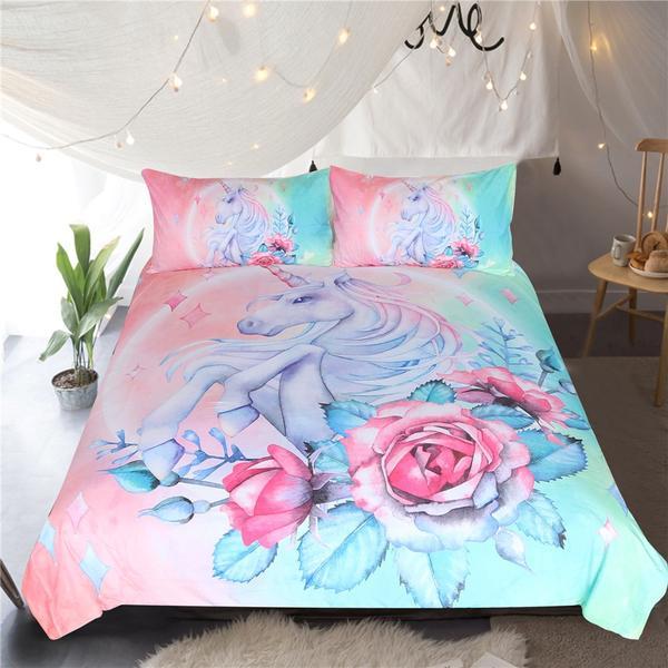 Unicorn and Rose Bedding Set
