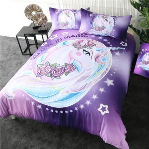 Unicorn Rose Floral Bedding Set
