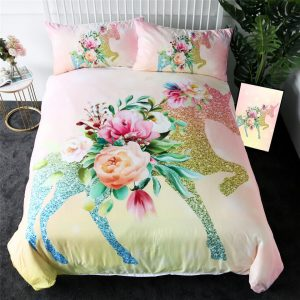 Shining Unicorn Floral Leaf Duvet Covers