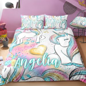 Personalized Baby Rainbow Unicorn Lash Bedding Set