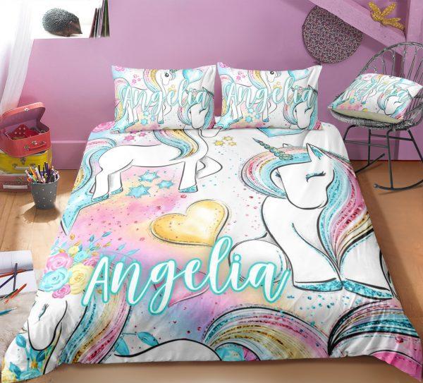 Personalized Baby Rainbow Unicorn Lash Bedding Set