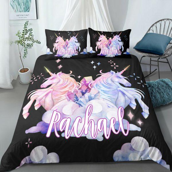 Personalized Black Two Unicorns Bedding Set