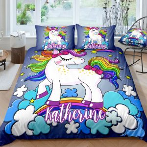 Personalized Blue Cloud Unicorn Bedding Set