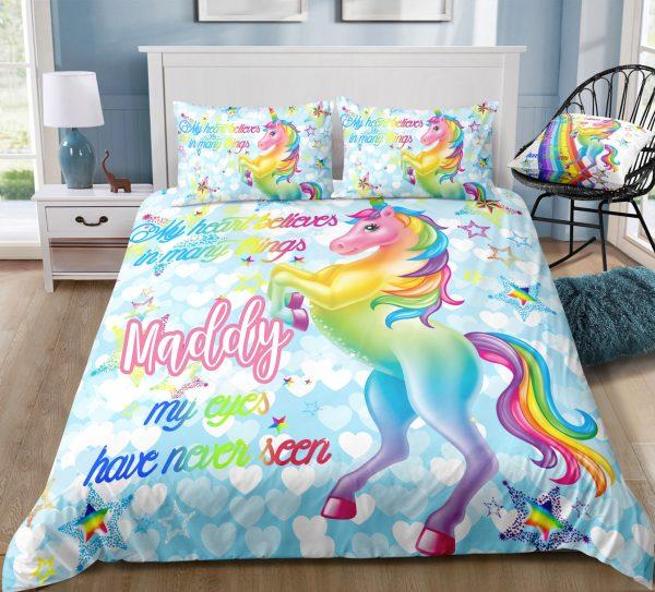 Personalized Blue Sky Unicorn Bedding Set