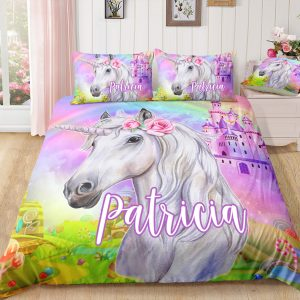 Personalized Castle Unicorn Bedding Set