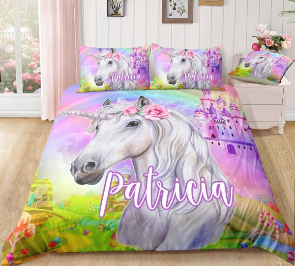 Personalized Castle Unicorn Bedding Set