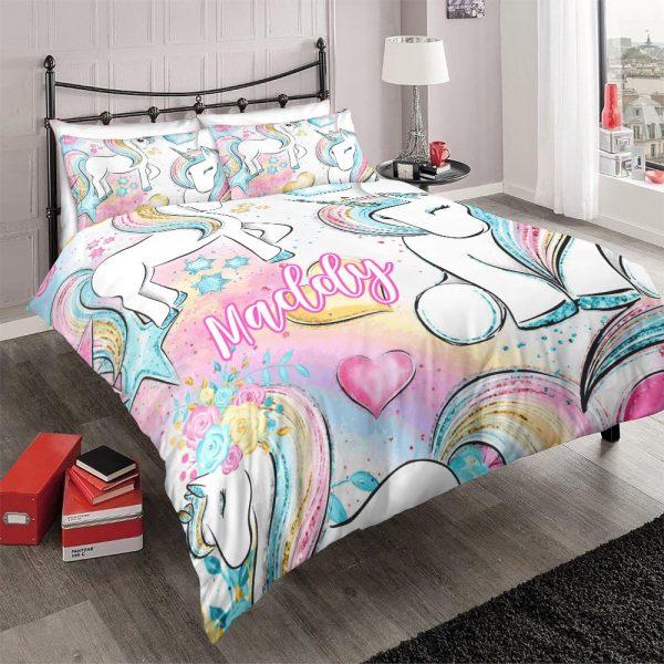 Personalized Custom Baby Rainbow Unicorn Lash Bedding Set – Unicorn Gift For Girls – Unicorn Bedroom Set