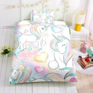 Personalized Custom Baby Rainbow Unicorn Lash Bedding Set – Unicorn Gift For Girls – Unicorn Bedroom Set