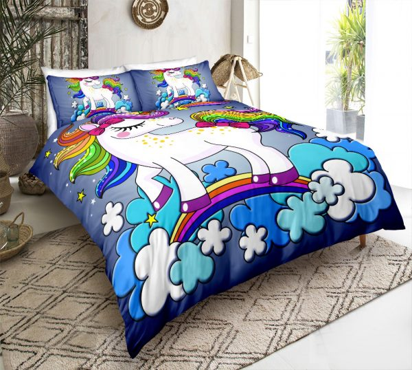 Personalized Custom Blue Cloud Unicorn Bedding Set – Unicorn Gift For Girls – Unicorn Bedroom Set