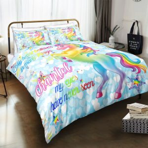 Personalized Custom Blue Sky Unicorn Bedding Set – Unicorn Gift For Girls – Unicorn Bedroom Set