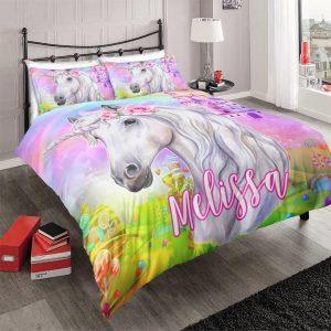 Personalized Custom Castle Unicorn Bedding Set – Unicorn Gift For Girls – Unicorn Bedroom Set