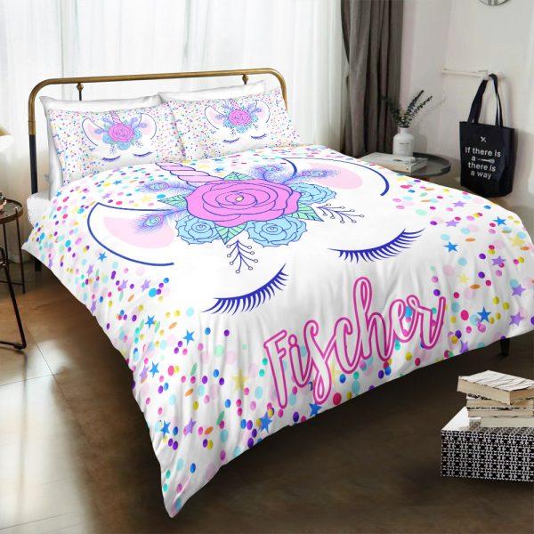 Personalized Custom Dotted Unicorn Lash Bedding Set – Unicorn Gift For Girls – Unicorn Bedroom Set