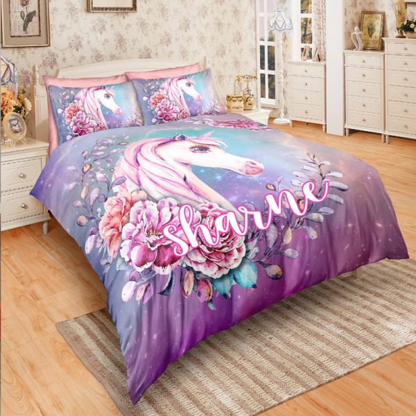 Personalized Custom Fairytale Unicorn Bedding Set – Unicorn Gift For Girls – Unicorn Bedroom Set