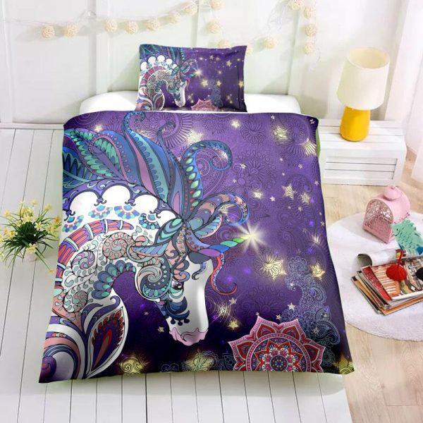 Personalized Custom Mandala Purple Unicorn Bedding Set – Unicorn Gift For Girls – Unicorn Bedroom Set