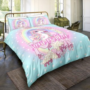 Personalized Custom Princess Unicorn Bedding Set – Unicorn Gift For Girls – Unicorn Bedroom Set