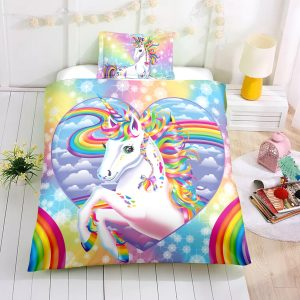 Personalized Custom Rainbow Sky Unicorn Bedding Set – Unicorn Gift For Girls – Unicorn Bedroom Set