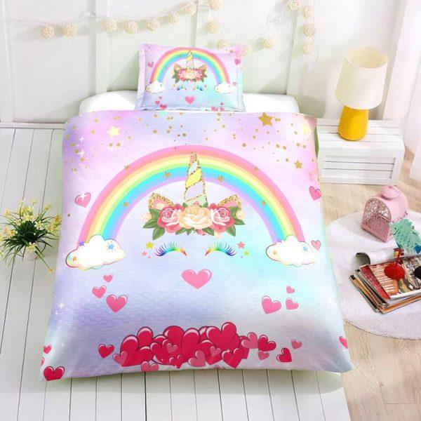 Personalized Custom Rainbow Unicorn Lash Bedding Set – Unicorn Gift For Girls – Unicorn Bedroom Set