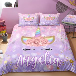 Personalized Cute Purple Unicorn Lash Bedding Set