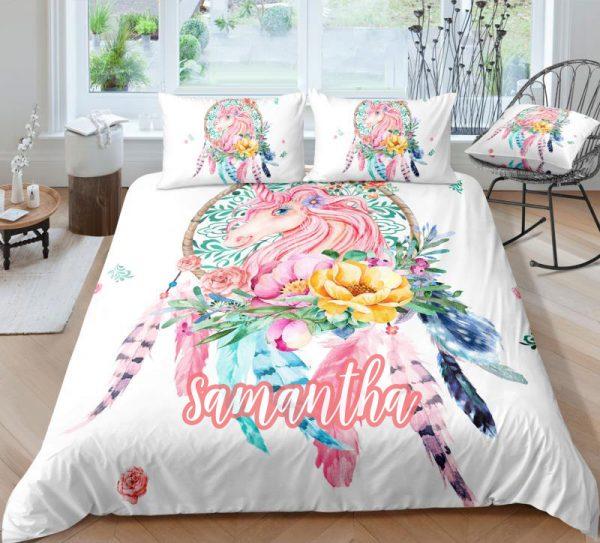 Personalized Dreamcatcher Unicorn Bedding Set