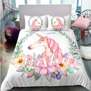 Personalized Flower Unicorn Bedding Set